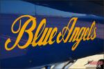 Up close shot of the Blue Angels lettering on the side of Blue Angel #1 at the 2012 NAF El Centro Airshow - Photo by Britt Dietz
