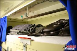 A typical US Navy style bunk on board the USS Abraham Lincoln, shown here from the male Security berthing quarters; My home for the next few days - Photo by Britt Dietz