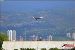 A Lockheed F-22A Raptor comes in for a landing at Hickam Air Force Base in Oahu, Hawaii - Photo by Britt Dietz