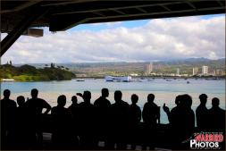 Tigers and Lincoln Crew watch the USS Arizona Memorial pass by through one of the elevator bays - Photo by Britt Dietz