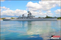 The USS Missouri battleship (BB-63) where the Japanese formally surrendered ending World War 2 in 1945 now moored next to Ford Island, in Pearl Harbor - Photo by Britt Dietz