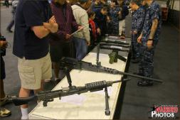 All types of weapons used on board the USS Abraham Lincoln Aircraft Carrier are put on display ranging from smaller rifles to much larger M-16s and a browning .50 Caliber Machine Gun for Tigers to check out. - Photo by Britt Dietz