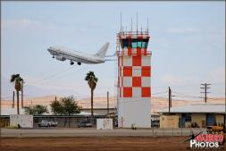 A rare US Navy Boeing C-20A Clipper transport takes off behind the iconic NAF El Centro ATC Tower. - Photo by Britt Dietz