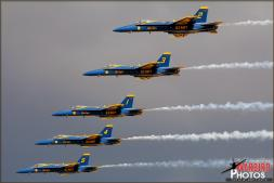 Even with cloudy skies and having to perform a low show, when the sun would hit the USN Blue Angels, their colors were vivid. - Photo by Britt Dietz