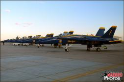 USN Blue Angel F/A-18C Hornet aircraft lined up just outside the Blue Angel hangar at NAF El Centro. - Photo by Britt Dietz