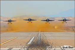 The USN Blue Angels take off from NAF El Centro in 2010 to start their practice, shot from just outside the base. - Photo by Britt Dietz