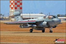 A US Navy/Marines Northrop Grumman EA-6B Prowler from VAQ-129 'Vikings' taxis out along the outer taxi way to the main runway at Naval Air Facility El Centro, California - Photo by Britt Dietz