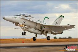 The 'Medal of Honor' Tribute F/A-18D Hornet from VMFAT-101 'Sharpshooters' performs a touch and go on the main runway at NAF El Centro during the 2013 Photocall - Photo by Britt Dietz