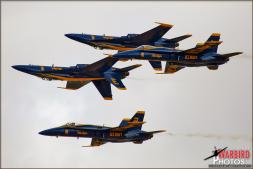 The diamond aircraft of the US Navy Blue Angels Flight Demonstration Team perform the Double Farvel over NAF El Centro in February 2013 during their winter training - Photo by Britt Dietz