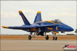 US Navy Blue Angels #1 Aircraft taxis by the Photocall photographer group and their own Narrator after their second performance of the day at Naval Air Facility El Centro - Photo by Britt Dietz